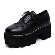 Naiset Kengät PU Kevät Syksy Comfort Maiharit Oxford-kengät Tasapohja Pyöreä kärkinen Kuminauhalla Käyttötarkoitus Musta Ruskea