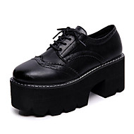 Feminino Sapatos Couro Ecológico Primavera Outono Conforto Coturnos Oxfords Rasteiro Ponta Redonda Elástico Para Preto Marron
