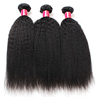 kinky ίσια μαλλιά 7α βραζιλιάνα δέσμες ύφανση μαλλιά Yaki ίσια επεκτάσεις ανθρώπινα μαλλιών 3pieces πολλά βραζιλιάνα παρθένα μαλλιά
