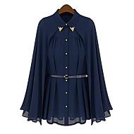 Feminino Camisa Casual / Férias Moda de Rua Todas as Estações,Sólido Azul / Bege Poliéster Colarinho de Camisa Sem Manga Fina