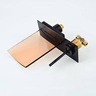 עכשווי מותקן על הקיר LED / מפל with  שסתום קרמי שני חורי ידית אחת for  Oil-rubbed Bronze , חדר רחצה כיור ברז
