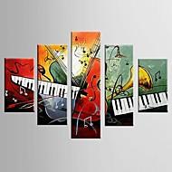 מצויר ביד מופשט Leisure בכל צורה,מודרני קלאסי חמישה פנלים בד ציור שמן צבוע-Hang For קישוט הבית
