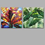 מצויר ביד מופשט / פרחוני/בוטני ציורי שמן,מודרני / קלאסי שני פנלים בד ציור שמן צבוע-Hang For קישוט הבית
