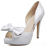 Women's Heels Spring Summer Fall Winter Comfort Satin Wedding Party & Evening Stiletto Heel Bowknot White Walking