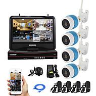 yanse® 1.0MP h.264 10 pouces kit NVR sans fil 4ch écran LCD 720p wifi ir ip caméra système CCTV étanche