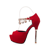 Women's Heels Spring Summer Fall Other Fleece Wedding Party & Evening Stiletto Heel Platform Rhinestone Chain Black Red White