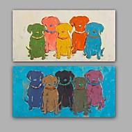 מצויר ביד מופשט / בעלי חיים ציורי שמן,מודרני / קלאסי שני פנלים בד ציור שמן צבוע-Hang For קישוט הבית
