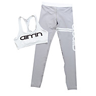 Women's Running Pants/Trousers/Overtrousers Shorts Clothing Sets/Suits Breathable Sports Wear Slim White Gray Printing
