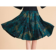 Women's A Line Print Skirts,Going out / Casual/Daily Mid Rise Knee-length Elasticity Cotton Micro-elastic Fall / Winter