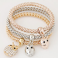 Women Fashion Simple Rhinestones Owl Charm Bracelet  Christmas Gifts