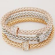 Mulheres Pulseiras com Pendentes Básico Estilo simples Moda Europeu Multi Camadas Strass Imitações de Diamante Liga Formato Circular
