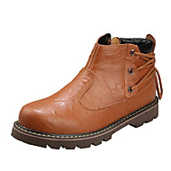 Men's Boots Winter Mary Jane Cowhide Outdoor Flat Heel Lace-up Brown Walking