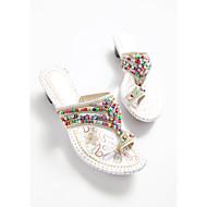Pantofle a Žabky-PU-Pohodlné-Dámské-Bílá-Běžné
