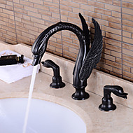 Traditional Widespread Ceramic Valve Two Handles Three Holes with Oil-rubbed Bronze Bathroom Sink Faucet