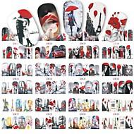 1sheet, 12designs Стикер искусства ногтя Вода Передача Переводные картинки макияж Косметические Nail Art Design
