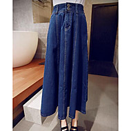 Women's A Line Solid Skirts,Going out / Work Mid Rise Midi Button Cotton Micro-elastic Fall