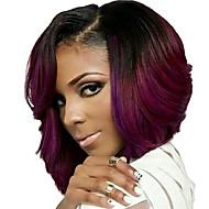 deux couleurs de ton perruques synthétiques courts cheveux noirs ondulés et rouge pour les femmes