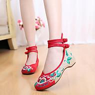 Черный Зеленый Красный-Женский-Для прогулок Повседневный-Ткань-На плоской подошве-Удобная обувь Эспадрильи-На плокой подошве