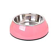 Dog Feeders Pet Bowls & Feeding Portable Random Color Stainless Steel