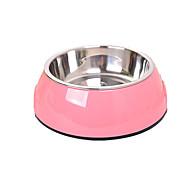 Hund Futter-Vorrichtungen Haustiere Schüsseln & Feeding Tragbar Zufällige Farben Edelstahl