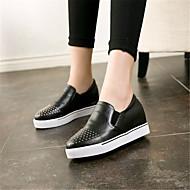 נשים-נעליים ללא שרוכים-עור-נוחות-שחור-קז'ואל-פלטפורמה