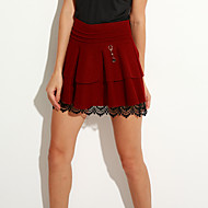 Women's Solid Red  Black Skirts,Simple  Cute Above Knee Plus Size
