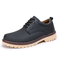 Men's Loafers & Slip-Ons Spring Fall Winter Platform Comfort Leatherette Outdoor Office & Career Casual Low Heel Lace-up Black Blue Khaki