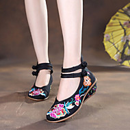 Women's Flats Spring Summer Fall Winter Comfort Espadrilles Fabric Outdoor Casual Wedge Heel Buckle Flower Black Blue Red White Walking