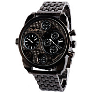 Oulm Men's Military Watch Wrist watch Dual Time Zones Quartz Alloy Band Vintage Cool Casual Black Bronze
