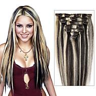 castanho claro / louro extensões de cabelo Nº 8 / 613-100% de extensões de cabelo de Remy - grampo em extensões do cabelo remy