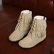 לבנות-מגפיים-סוויד-נוחות-שחור / אפור / קפה-קז'ואל-עקב שטוח