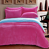 Duvet Cover Sets 1 Piece Velvet solid Reactive Print Velvet Queen 1pc Duvet Cover / 2pcs Shams / 1pc Flat Sheet