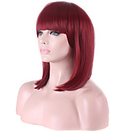 Bob Short Full Side Bang Straight Synthetic Wigs for Women Red Wine Heat Resistant Costume Cheap Cosplay Wigs