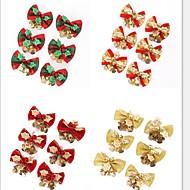 6kpl / set punainen joulu söpö keula puu roikkuu koriste joulu bowknot koriste metalli soittokello joulu 5 * 4cm