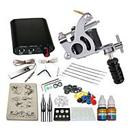 1 cast iron machine liner & shader Mini power supply 5 x tattoo needle RL 3 1PCS 1 x aluminum grip 1  5ml starter tattoo kits