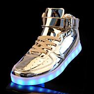 Femme-Décontracté-Argent Or-Talon Plat-Confort Light Up Chaussures-Baskets-Polyuréthane