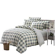 Kariert Bettbezug-Sets 4 Stück Polyester Muster Reaktivdruck Polyester Einzelbett / Doppelbett / ca. 1,50 m breites Doppelbett4-teilig (1