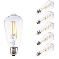 4W E26/E27 Izzószálas LED lámpák ST58 4 COB 450 lm Meleg fehér Állítható / Dekoratív AC 220-240 V 6 db.
