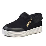נשים-נעליים ללא שרוכים-סוויד PU-פלטפורמה אחר נוחות-שחור לבן-שטח שמלה יומיומי-עקב נמוך פלטפורמה