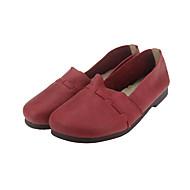נשים-נעליים ללא שרוכים-עור-בלרינה-צהוב / בורגונדי / עירום-שטח / משרד ועבודה / קז'ואל-עקב שטוח