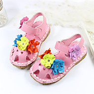Girl's Sandals Summer Slingback Microfibre Casual Flat Heel Flower Pink White Peach Others
