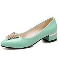 Women's Heels Spring Summer Fall Ballerina Comfort Leatherette Dress Casual Party & Evening Low Heel Rivet Sparkling GlitterBlack Green