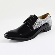 Men's Oxfords Fall Comfort Leather Wedding Office & Career Party & Evening Flat Heel Others Black White