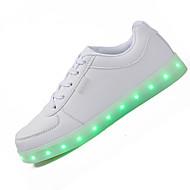 Masculino-Tênis-Conforto Light Up Shoes-Rasteiro-Preto Branco-Couro-Casual