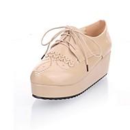 נשים-נעלי אוקספורד-עור פטנט דמוי עור-פלטפורמה נוחות חדשני-שחור Almond-חתונה משרד ועבודה שמלה קז'ואל מסיבה וערב-עקב וודג'