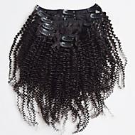Nowe brazylijski 100% ludzki włos ins klip perwersyjne afro kręcone ins klip rozszerzeń splotów włosów naturalny kolor czarny 7 sztuk /
