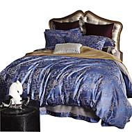 מוצק סטי שמיכה 4 חלקים פולי / כותנה יוקרתי ג'אקארד פולי / כותנה קווין כיסוי שמיכת יחידה 1 כריות מיטה 2 יחידות סדין יחידה 1
