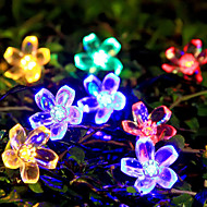 6.5M 50 Peach Blossom Solar Energy Lamp   Christmas Halloween Decorative Lights Festive Strip Lights