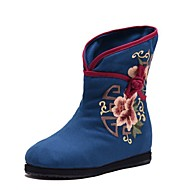 Women's Boots Spring Fall Winter Comfort Canvas Outdoor Dress Casual Wedge Heel Flower Black Blue Red Walking