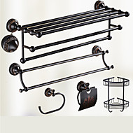 Bathroom Accessory Set / Oil Rubbed Bronze Towel Bar Antique Brass Wall Mounted 625 x 90x125mm (24.6 x 3.54 x 4.92) Brass / Ceramic / Crystal Antique